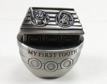 Vintage pewter chest for my first tooth baby decor baby gift tooth storage tooth