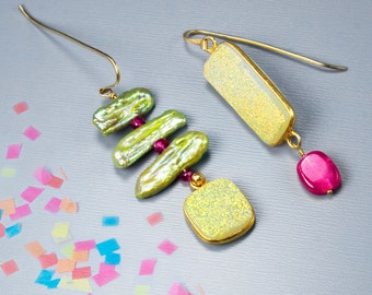 Beaded earrings. Mismatched earring. Druzy jewelry in lime and fuschia gemstones and pearls - Acid Green