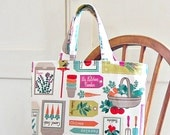 RESERVED small tote bag, farmers market vegetables and herbs garden shopper