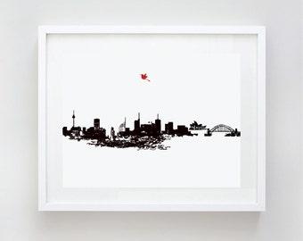 Sydney City Skyline Fine Art Print Home Decor, Harbour Bridge, Sydney Opera House, city skyline, Australia