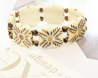 Bone and Tiger's Eye Bracelet / Handcarved Bone / Hand-carved Bone / Ethnic Inspired / Bohemian / Tigers Eye / Cream / Brown / Winter White