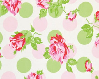 LAST ONE - Laminated Cotton Oilcloth - Craft and Splat Mat -  Falling Roses in Pink