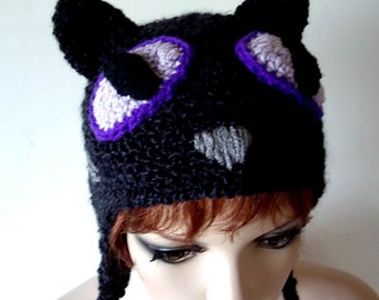 Black Cat Hat Crochet with Lavender Purple Eyes Child Teen Adult size