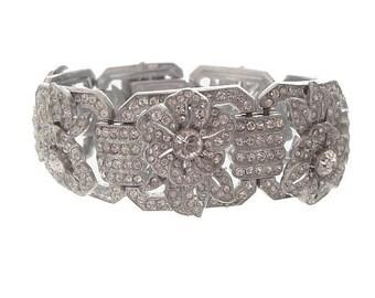 Czech Wide Bracelet, Rhinestone Forget Me Knot, Vintage Art Nouveau, Antique 1910 Statement Designer Jewelry, Wedding Jewellery