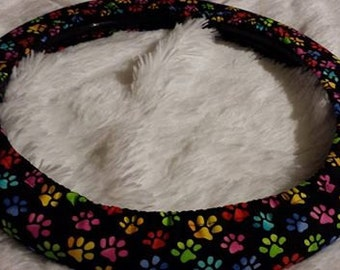 Last Two | One * Packed Puppy Paw Prints Rainbow  * Steering Wheel Cover * Seat Belt Cover *  Doggy Delight