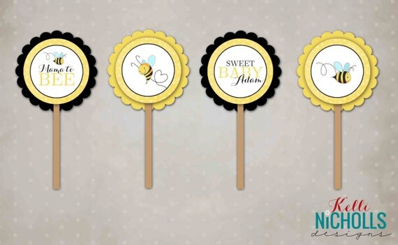 Bumble Bee Baby Shower Cupcake Toppers Template, Mommy to Bee Decorations #S104