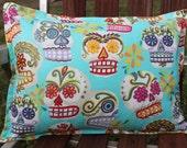 Sugar Skulls Pillow 12 x 16 Cover Aqua Day of the Dead