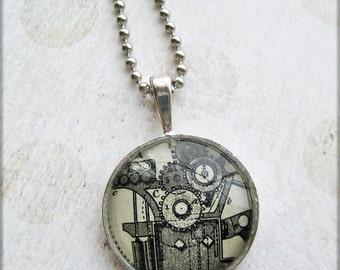 Steampunk Vintage Illustration Necklace Silver bezel Glass dome antique ephemera