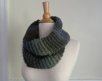Relaxed Knit Cowl in Muted Blue and Green, Circle Scarf