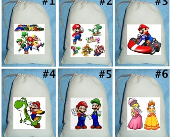 12 super mario Birthday Party Favor Candy Loot Treat Drawstring Bags