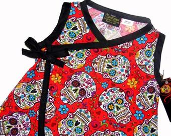Sugar Skull - Skull Clothes - Girls Dress - Punk Rock - Kimono Dress - Day of the Dead -  Toddler Dress - 4t - 5t - 6