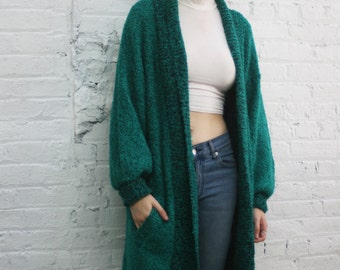 vintage 80s green boucle sweater coat / oversized cardigan / salt and pepper