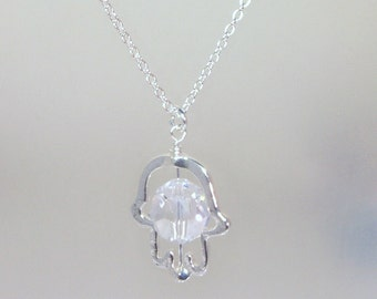 Sterling Silver Necklace - Hamsa / Hand of Fatima - 12mm Faceted Swarovski Crystal Center Stone