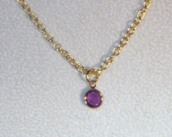 Simply Swarovski - Swarovski Amethyst Drop on Gold Necklace