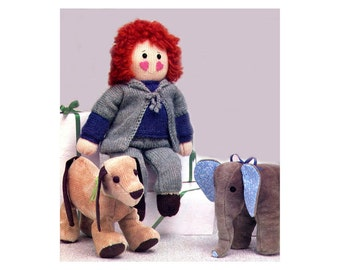Doll and Clothes Knitting Pattern Dressable Doll Teddy Bear Clothes PLUS Elephant and Puppy Stuffed Animal Dolls Sewing Pattern