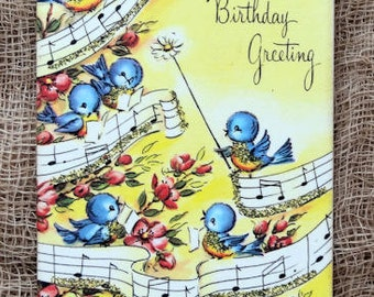 Retro Singing Blue Birds A Birthday Greeting Gift or Scrapbook Tags or Magnet #631