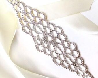 Silver Rhinestone Encrusted Bridal Belt Sash - Custom Ribbon - Wide Silver and Crystal Wedding Dress Belt - Standard Length