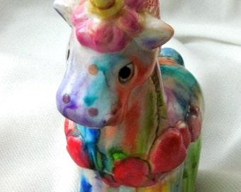 Rainbow unicorn figurine