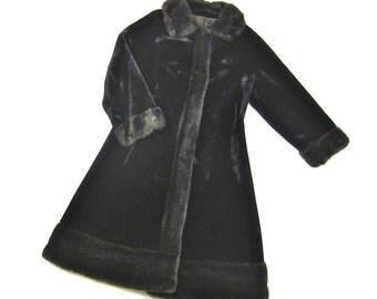 Vintage 1940s or 50s Russian Princess Form Fitting Black on Black Faux Fur Coat, Sz S, M
