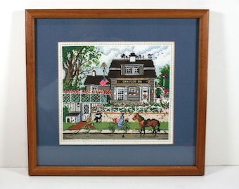 Vintage Framed Cross Stitch - Americana Street Scene - Matted and Framed with Glass, 1990