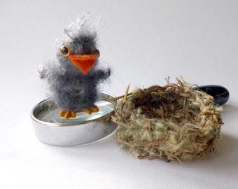 Miniature Baby Robin Bird Hand Crochet