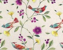 "Bird Window Curtains, Decorator Curtains, Teal Bedroom Decor, Custom Draperies, Floral Home Decor, Rod Pocket Curtains, One Pair 50""W"