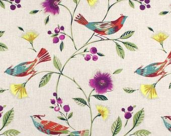 Bird Window Curtains Decorator Curtains Teal Bedroom Decor Custom Draperies Floral Home