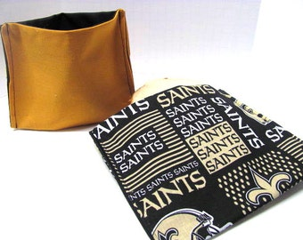 2 PC ReUsable Sandwich and Snack Bag Set, Eco Friendly Lunch Kit, New Orleans Saints  Ready to Ship
