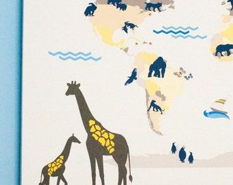 Safari Nursery Art, Safari Animal Map, Travel Map for Nursery, Child's Room,Playroom, Mark places visited, Print or Canvas  // N-I04-1PS AA1