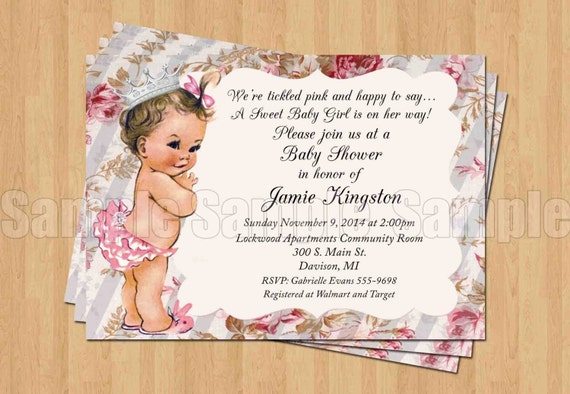 vintage baby girl princess baby shower invitations digital, Baby shower invitations