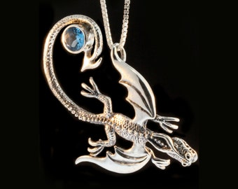 Silver Dragon Necklace - Balerion Dragon Pendant with Blue Topaz - Dragon Jewelry - Sterling Silver Dragon Jewelry - Dragon Necklace