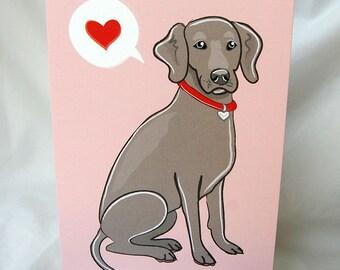 Weimaraner Heart Greeting Card
