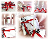 Wedding accessories set - damask and red ring pillow, basket, guest book, garters, cake set and glasses