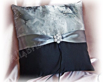 Grey and Black Wedding Ring Bearer Pillow, Sparkly Pewter Dark Grey Ring Wedding Cushion
