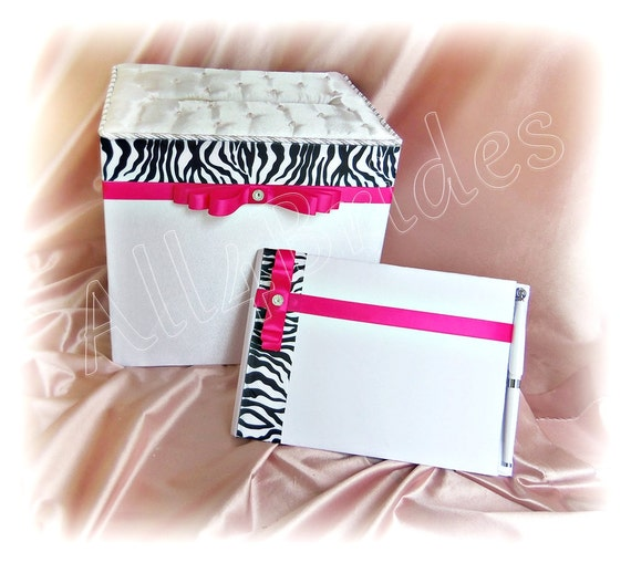 Zebra and hot pink wedding card box and guest book set, white wedding card box and guest book