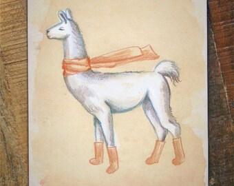 Llama Art Card - colored pencil drawing card, llama artwork, happy holidays card, winter card, cute animals card, thinking of you blank card