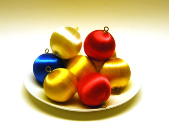 Blue Yellow White Red Satin Ball Ornaments for craft decorating with beads, sequins, pins - 2.5 inches