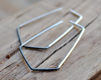 Two-Tone Geo Sterling Silver Earrings. Black and Silver. Asymmetrical. Oxidized.