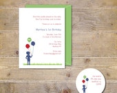 First Birthday Invitations, Invites, Boy, Balloons, 2nd Birthday, 3rd Birthday, Red, 1st Birthday, Party Invitation, Silhouette - Balloons