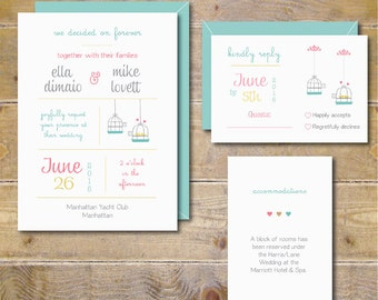 Printable Wedding Invitations . Wedding Invitation Template . Wedding Invites . Lovebirds Wedding . Invitation Wedding PDF  - Stay With Me