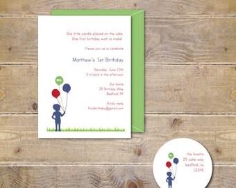 First Birthday Invitations, Invites, Boy, Balloons, 2nd Birthday, 3rd Birthday, Red, 1st Birthday, Party Invitation, Silhouette - Balloons