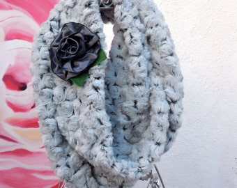 FALL Collection....NEW WARM/Cozy  Infinity Double Loop Scarf  Light Grey Color with flower.......