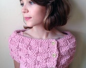 Pretty in Pink Buttoned Basket Knit Buttoned Muffler Cowl Capelette