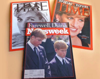 Vintage Princess Diana Magazines 1997 Commemorative Death Funeral American Time Newsweek Color Photographs William Harry English Royalty