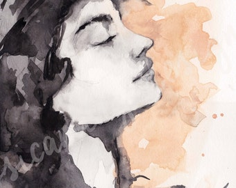 Woman Print,  Woman Face Painting, Woman's Face, Watercolor Woman Print, woman painting, impressionistic