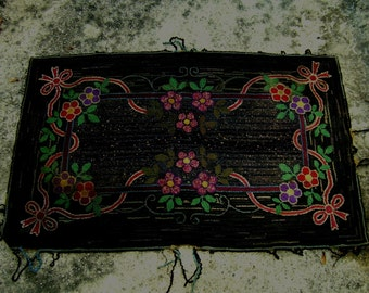 Antique Hooked Rug Victorian Black Colors Flowers Cottage Chic Small