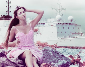 Aquata, Mermaid Bridesmaid, Shell Pink Bustier Dress