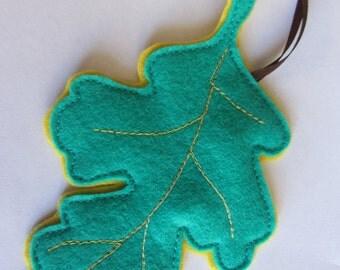 Felt Woodland Oak Leaf Ornament in Teal Green