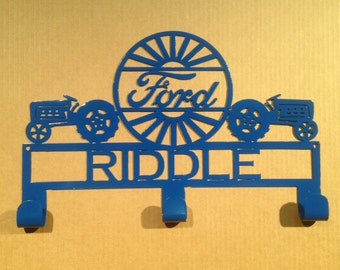 Hat / Coat Rack Ford Tractor with Custom Text  3 Hooks (V14)