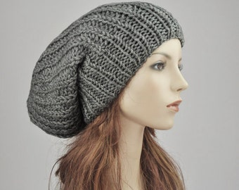 Hand knit hat - Oversized Chunky Wool Hat, slouchy hat in Dark grey